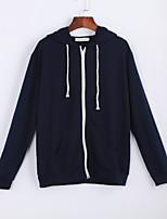 Women's  HoodiesSolid / Letter Blue / White Hooded Long Sleeve Cotton Fall Medium Micro-elastic