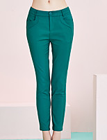 I'HAPPY Women's Solid Green Skinny / Shorts PantsSimple Spring / Summer