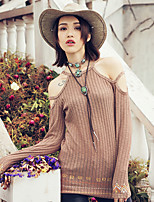 Aporia.As Women's Casual/Daily Street chic Fall T-shirtEmbroidered Halter Long Sleeve Beige Polyester-MZ15032