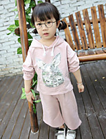 Girl's Casual/Daily Animal Print Hoodie & Sweatshirt / Clothing SetCotton Spring / Fall Pink