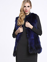 BF-Fur Style Women's Casual/Daily Sophisticated Fur CoatSolid Round Neck Sleeveless Winter Blue / Red / Black Raccoon Fur