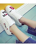 Women's Sneakers Spring Summer Fall Comfort PU Casual Flat Heel Lace-up White Others