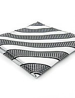Mens Pocket Square White Stripes 100% Silk Business Handkerchief For Men