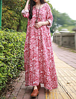 Женский На каждый день Шинуазери (китайский стиль) Свободный силуэт Платье Цветочный принт,V-образный вырез Макси Длинный рукав Красный