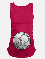 Maternity Casual/Daily Cute Summer Tank TopSolid Round Neck Sleeveless Blue / Red / Black Cotton / Spandex Thin