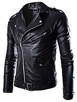 Мужчины На каждый день Однотонный Кожаные куртки Воротник-стойка,Простое Осень / Зима Черный Длинный рукав,Полиуретановая,Толстая