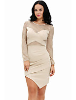 Women's See-through Crochet Patchwork Long Sleeve Bodycon Dress