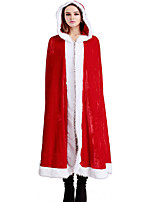 Christmas Women Cosplay Santa Stitching Color Red Hooded Cloak