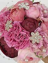 Fleurs de mariage Rond Roses / Pivoines Bouquets Mariage / Le Party / soirée Satin / Strass 7.87