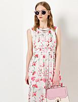 Feminino Chifon Vestido,Tamanhos Grandes Fofo / Moda de Rua Floral Decote Redondo Longo Sem Manga Branco Poliéster Primavera / Verão