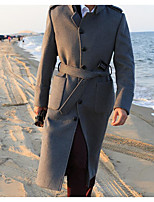 Men's Casual/Daily Simple Trench Coat,Solid Shirt Collar Long Sleeve Fall / Winter Black / Gray Wool
