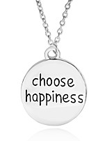 Necklace Choose Happiness Round Pendant Necklaces Jewelry Party / Daily Unique Design