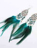 Women Fashion Bohemian Beaded Feather Tassel Droplets Drop Earrings