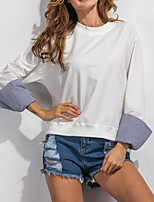 Women's Casual/Daily Simple Regular HoodiesPatchwork White Round Neck Long Sleeve