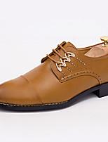 Черный / Желтый / Белый-Мужской-На каждый день-Кожа-На плоской подошве-Удобная обувь-Туфли на шнуровке