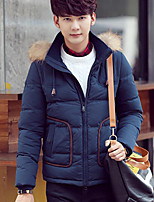 Men's Down Coat,Simple Casual/Daily Solid-Polyester White Duck Down Long Sleeve Hooded Blue / Gray