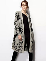 Women's Going out / Casual/Daily Punk & Gothic / Sophisticated Long CardiganPrint Gray Notch Lapel Long Sleeve