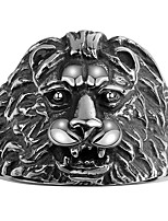 New Fashion 316L Stainless Steel Ring Men Rings Punk Vintage Domineering Lionhead Ring Animal Jewelry