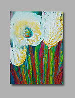 Stretched (Ready to hang) Hand-Painted Oil Painting 90cmx60cm Canvas Wall Art Modern Abstract White Flowers