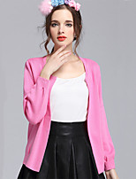 Hot SaleWomen's Casual/Daily Simple Regular CardiganSolid Blue / Pink / Red / Black / Gray Round Neck Long Sleeve Cotton Fall Medium
