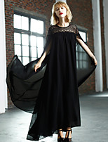 MASKED QUEEN Women's Going out Street chic Loose DressSolid Round Neck Maxi Long Sleeve Black Polyester