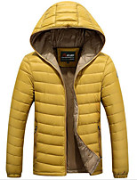 Men's Down Coat,Simple Plus Size / Casual/Daily Solid-Polyester White Duck Down Long Sleeve Blue / Brown / Green / Yellow