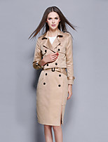 Women's Going out / Casual/Daily / Party/Cocktail Vintage / Sophisticated Fall / Winter T-shirt Skirt Suits,Solid Notch Lapel Long Sleeve