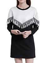Women's Plus Size / Going out / Casual/Daily Street chic Shift DressPatchwork Round Neck Knee-length Long Sleeve Black