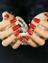 24Pcs Vibrant Red Gold Riveting Nail Strips Mature And Elegant And Sexy Fashion 1 Set