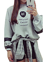 Women's Casual/Daily Simple Regular HoodiesPrint White / Gray Round Neck Long Sleeve Cotton Fall Medium Micro-elastic