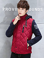 Men's Going out / Casual/Daily / Work Simple / Active Jackets,Solid / Letter Hooded Long Sleeve Spring / WinterBlue / Red / Brown /
