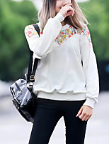 Women's Going out Street chic Sweatshirt Patchwork Round Neck Micro-elastic Polyester Long Sleeve Fall
