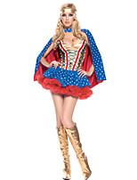 Cosplay Costumes Super Heroes Movie Cosplay Blue Solid Dress / Shawl Halloween / Carnival Female Polyester