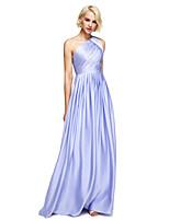 Longo Chiffon Acetinado Elegante Vestido de Madrinha - Linha A Mula Manca com Drapeado Lateral