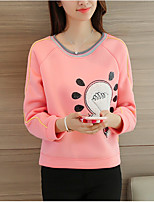 Women's Casual/Daily Simple / Cute Regular Hoodies,Print Pink Round Neck Long Sleeve Polyester Spring / Fall Medium Micro-elastic