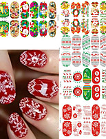 1SET Xmas Nail Wraps Luminous Glow Full Nail Sticker Christmas Santa Nail Art Decorations Foils Tips
