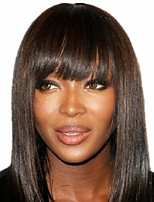 Cute Bob Style 12inch Dark Brown #2 Natural Straight Bangs Human Hair Capless Wigs