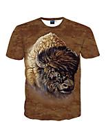 Masculino Camiseta Happy-Hour / Praia / Férias Simples / Boho / Activo Primavera / Verão,Estampado Marrom Poliéster Decote RedondoManga
