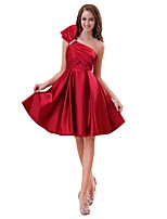 Knee-length Satin Elegant Bridesmaid Dress - A-line One Shoulder with Bow(s)