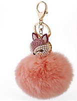 Rabbit Hair Ball Fox Headset Diamond Car Keychain