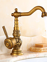 Traditionnel norme Spout Set de centre large spary with  Valve en céramique Mitigeur un trou for  Laiton Antique , Robinet de Cuisine
