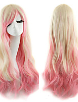 Fashion Synthetic Cosplay Hair Curly Yellow Pink Ombre Long Anime lolita Wigs Perruque Peluca Feminina