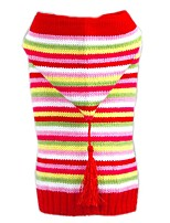 Cat Dog Sweater Hoodie Dog Clothes Winter Spring/Fall Stripe Christmas New Year's Multicolor