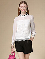 DOF Women's Casual/Daily Simple Fall BlouseSolid Stand Long Sleeve White Cotton Thin