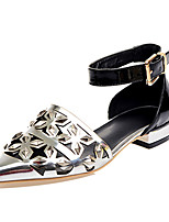 Women's Sandals Summer Comfort Cowhide Dress Flat Heel Buckle Silver Gold Others