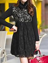Women's Plus Size Street chic Sheath DressPrint / Patchwork Shirt Collar Above Knee Long Sleeve Black / Winter