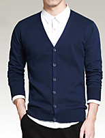 Men's Spring  Fall Casual Daily Solid  Color V Neck Long Sleeve Cotton  Long-sleeved Cardigan Sweater