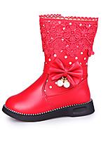 Boty-Kůže-Pohodlné-Dívčí-Černá / Růžová / Červená-Outdoor / Běžné-Nízký podpatek