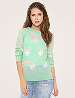 AOKNI Women's Round Neck Long Sleeve T Shirt Pink / Green-215