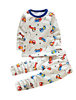 Boy's Casual/Daily Print Clothing Set,Cotton Winter White